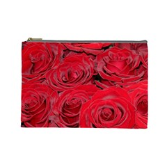 Red Love Roses Cosmetic Bag (large)  by yoursparklingshop