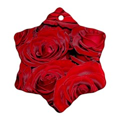 Red Love Roses Ornament (snowflake)  by yoursparklingshop