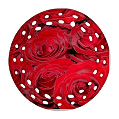Red Love Roses Round Filigree Ornament (2side) by yoursparklingshop