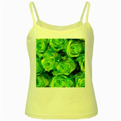 Festive Green Glitter Roses Valentine Love  Yellow Spaghetti Tank by yoursparklingshop
