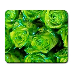 Festive Green Glitter Roses Valentine Love  Large Mousepads by yoursparklingshop