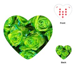 Festive Green Glitter Roses Valentine Love  Playing Cards (heart)  by yoursparklingshop