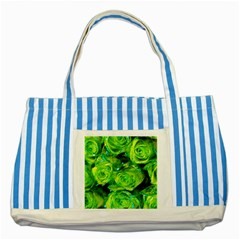 Festive Green Glitter Roses Valentine Love  Striped Blue Tote Bag by yoursparklingshop