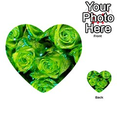 Festive Green Glitter Roses Valentine Love  Multi Purpose Cards (heart)  by yoursparklingshop