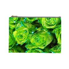 Festive Green Glitter Roses Valentine Love  Cosmetic Bag (large)  by yoursparklingshop