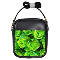 Festive Green Glitter Roses Valentine Love  Girls Sling Bags by yoursparklingshop