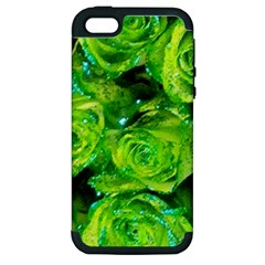 Festive Green Glitter Roses Valentine Love  Apple Iphone 5 Hardshell Case (pc+silicone) by yoursparklingshop