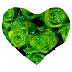 Festive Green Glitter Roses Valentine Love  Large 19  Premium Flano Heart Shape Cushions by yoursparklingshop