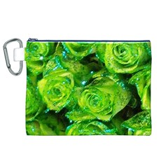 Festive Green Glitter Roses Valentine Love  Canvas Cosmetic Bag (xl)  by yoursparklingshop