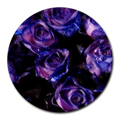 Purple Glitter Roses Valentine Love Round Mousepads by yoursparklingshop