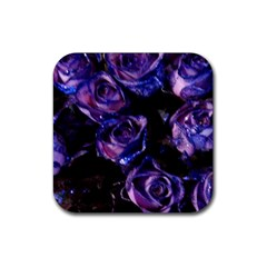 Purple Glitter Roses Valentine Love Rubber Coaster (square)  by yoursparklingshop