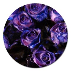 Purple Glitter Roses Valentine Love Magnet 5  (round) by yoursparklingshop