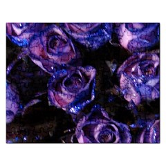Purple Glitter Roses Valentine Love Rectangular Jigsaw Puzzl by yoursparklingshop