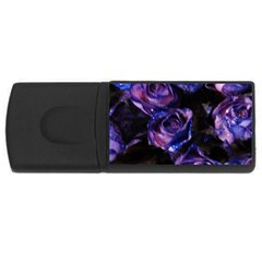 Purple Glitter Roses Valentine Love Usb Flash Drive Rectangular (4 Gb)  by yoursparklingshop