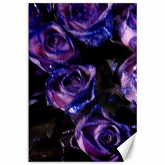 Purple Glitter Roses Valentine Love Canvas 12  X 18   by yoursparklingshop