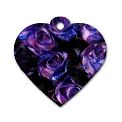 Purple Glitter Roses Valentine Love Dog Tag Heart (two Sides) by yoursparklingshop