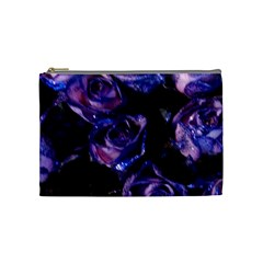 Purple Glitter Roses Valentine Love Cosmetic Bag (medium)  by yoursparklingshop