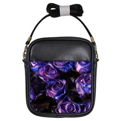 Purple Glitter Roses Valentine Love Girls Sling Bags by yoursparklingshop