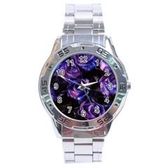 Purple Glitter Roses Valentine Love Stainless Steel Analogue Watch by yoursparklingshop