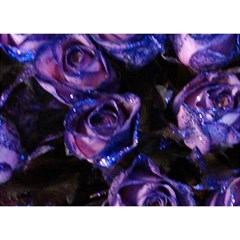 Purple Glitter Roses Valentine Love Birthday Cake 3d Greeting Card (7x5)  by yoursparklingshop