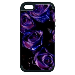 Purple Glitter Roses Valentine Love Apple Iphone 5 Hardshell Case (pc+silicone) by yoursparklingshop