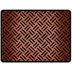 Woven2 Black Marble & Copper Brushed Metal (r) Double Sided Fleece Blanket (large) by trendistuff