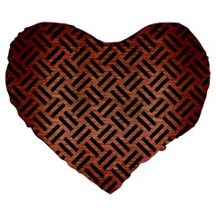 Woven2 Black Marble & Copper Brushed Metal (r) Large 19  Premium Flano Heart Shape Cushion by trendistuff