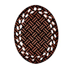 Woven2 Black Marble & Copper Brushed Metal Ornament (oval Filigree) by trendistuff