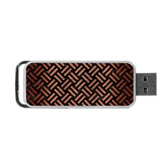 Woven2 Black Marble & Copper Brushed Metal Portable Usb Flash (two Sides) by trendistuff