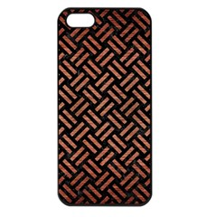 Woven2 Black Marble & Copper Brushed Metal Apple Iphone 5 Seamless Case (black) by trendistuff