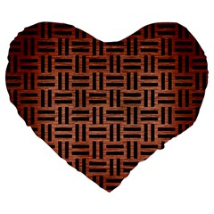 Woven1 Black Marble & Copper Brushed Metal (r) Large 19  Premium Flano Heart Shape Cushion by trendistuff