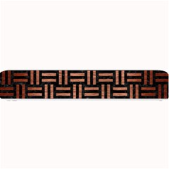 Woven1 Black Marble & Copper Brushed Metal Small Bar Mat by trendistuff