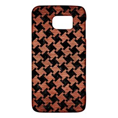 Houndstooth2 Black Marble & Copper Brushed Metal Samsung Galaxy S6 Hardshell Case  by trendistuff