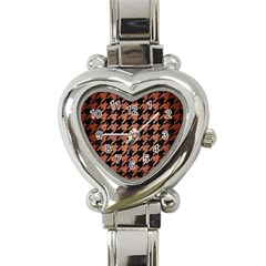 Houndstooth1 Black Marble & Copper Brushed Metal Heart Italian Charm Watch by trendistuff