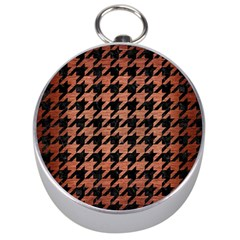 Houndstooth1 Black Marble & Copper Brushed Metal Silver Compass by trendistuff