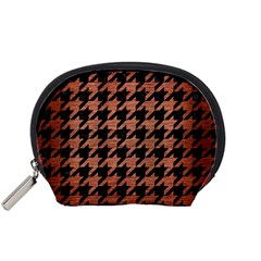 Houndstooth1 Black Marble & Copper Brushed Metal Accessory Pouch (small) by trendistuff
