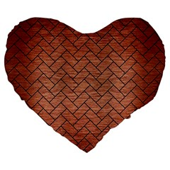 Brick2 Black Marble & Copper Brushed Metal (r) Large 19  Premium Flano Heart Shape Cushion by trendistuff