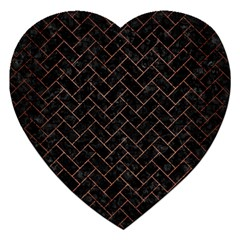Brick2 Black Marble & Copper Brushed Metal Jigsaw Puzzle (heart) by trendistuff