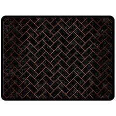 Brick2 Black Marble & Copper Brushed Metal Fleece Blanket (large) by trendistuff