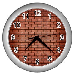 Brick1 Black Marble & Copper Brushed Metal (r) Wall Clock (silver) by trendistuff