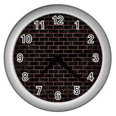 Brick1 Black Marble & Copper Brushed Metal Wall Clock (silver) by trendistuff
