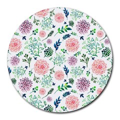 Hand Painted Spring Flourishes Flowers Pattern Round Mousepads by TastefulDesigns