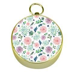 Hand Painted Spring Flourishes Flowers Pattern Gold Compasses by TastefulDesigns