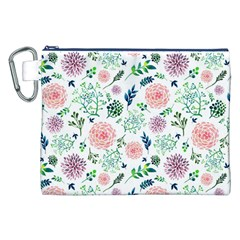 Hand Painted Spring Flourishes Flowers Pattern Canvas Cosmetic Bag (xxl)  by TastefulDesigns