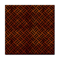 Woven2 Black Marble & Brown Burl Wood (r) Tile Coaster by trendistuff