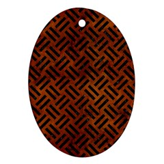 Woven2 Black Marble & Brown Burl Wood (r) Ornament (oval) by trendistuff