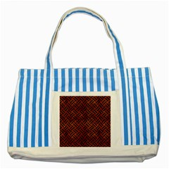 Woven2 Black Marble & Brown Burl Wood (r) Striped Blue Tote Bag by trendistuff