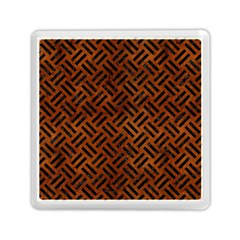 Woven2 Black Marble & Brown Burl Wood (r) Memory Card Reader (square) by trendistuff