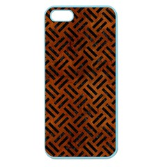 Woven2 Black Marble & Brown Burl Wood (r) Apple Seamless Iphone 5 Case (color) by trendistuff