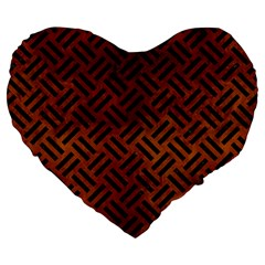 Woven2 Black Marble & Brown Burl Wood (r) Large 19  Premium Flano Heart Shape Cushion by trendistuff